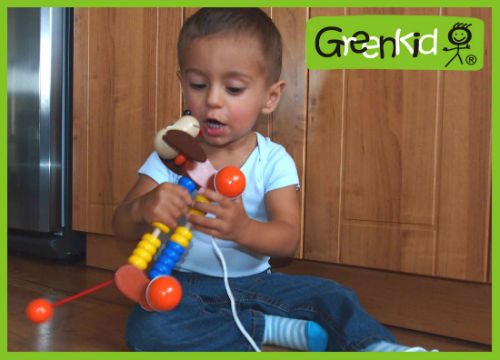 Greenkid pull-along animals with abacus. Quality and safe wooden toy - Doggy - for children from one year of age by Abafactory the Czech manufacturer of original designs.