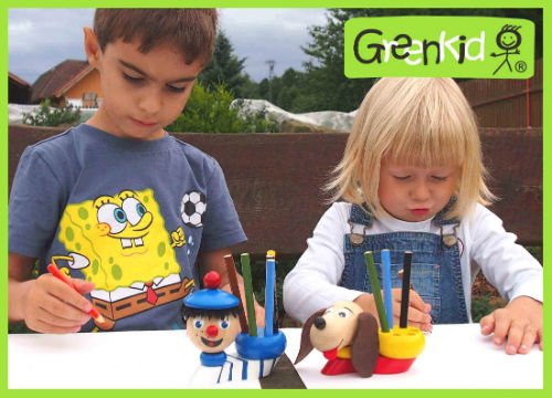 Greenkid wooden pen holders. High quality toy and a decoration for children from 3 years of age and - motif Sailor and Dog from Abafactory