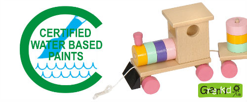 Greenkid quality and safe toys. Abafactory the Czech manufacturer of wooden toys uses water-soluble certified paints.