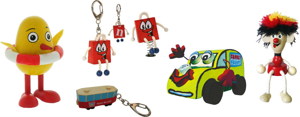 Greenkid keyrings, magnets and original marketing objects. Abafactory the Czech manufacturer of quality wooden toys and decorations not only for children.
