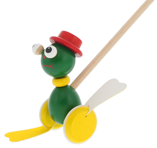 Quality wooden toys Greenkid. Wooden push-along toys with flappy feet Frog. Czech made product safe for children by Abafactory .