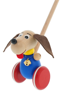 Greenkid wooden pull-along toy - Doggy with jingle bell.
