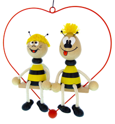 Greenkid wooden toys and deocrations on spring. Wooden animals - honeybee and bumblebee inside a heart by Abafactory the Czech manufacturer of wooden toys.