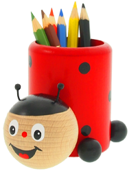 Greenkid wooden quality holders for colouring pens for children. Wooden decoration Ladybird by Abafactory the Czech manufacturer.