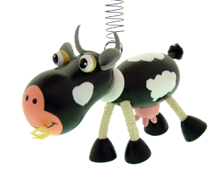 Greenkid wooden flying animals on spring. Wooden cow - toy and decoration for children's rooms by Abafactory the Czech manufacturer.