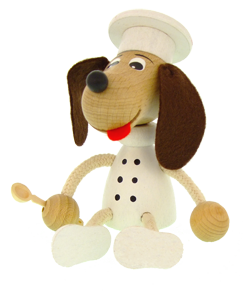 Greenkid wooden figure. Wooden Dog - Chef by Aabafactory the Czech manufacturer of quality wooden toys and decorations for children.