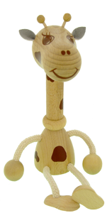 Greenkid animal figures. Giraffe wooden toys and decorations for children's rooms. Abafactory the manufacturer of quality safe products.