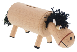 Greenkid wooden toys and decoration for children from one year of age. Wooden money bank - horse natural. Abafactory the Czech manufacturer of wooden toys.