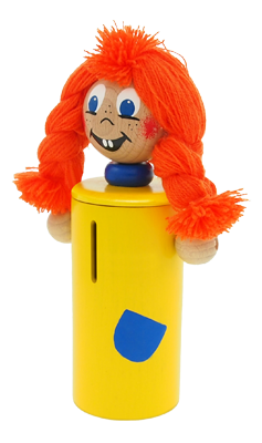 Pipi - Greenkid wooden money bank. Wooden toy and decoration for children with original hand painting by Abafactory the Czech manufacturer of wooden toys.