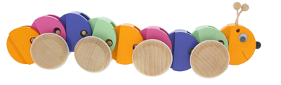 Pull-along caterpillar - Greenkid wooden toy. Abafactory the Czech manufacturer of quality and safe wooden toys.