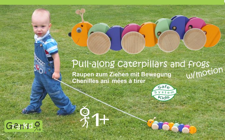 Pull-along caterpillar - Greenkid wooden toys for children from one year of age. Abafactory the Czech manufacturer of quality and safe wooden toys with new design.