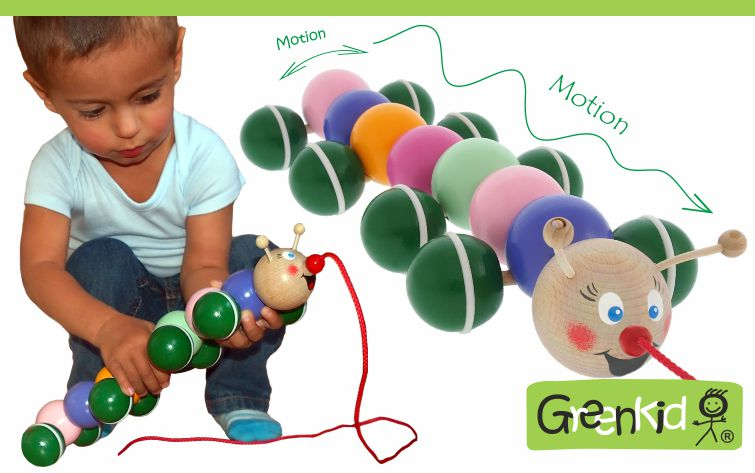 Greenid wooden pull-along toys. Wooden caterpillar for boys and girls. Abafactory the Czech manufacturer of wooden toys.