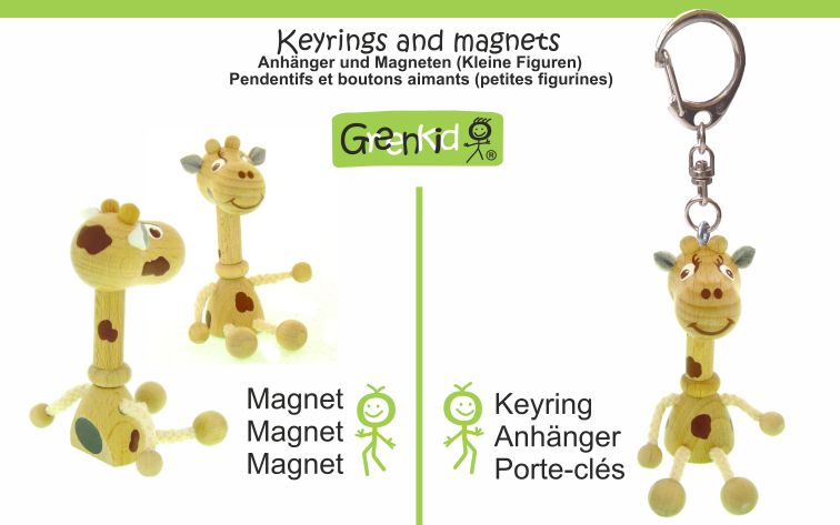 Greenkid keyring and magnets. Wooden animals and friendly figures not only for children by Abafactory the Czech manufacturer of quality wooden toys.