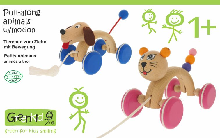 Pull-along animals with motion. Cat and dog.High-quality wooden toys directly from the manufacturer