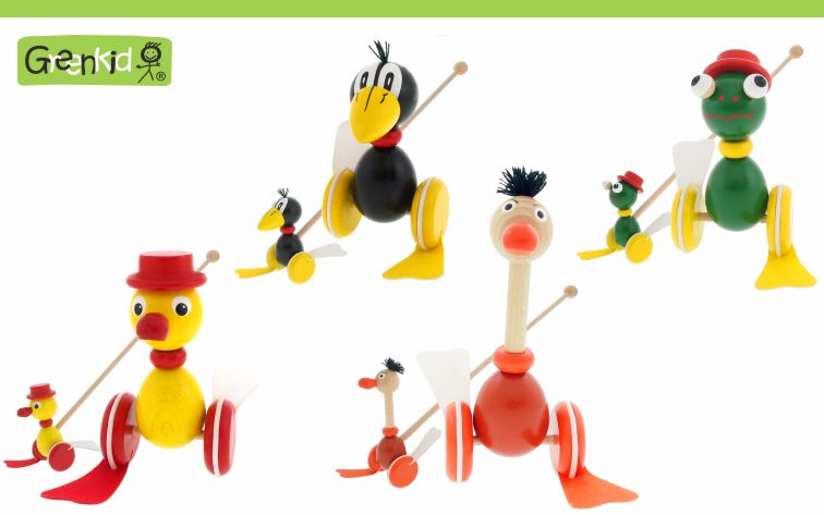 Quality wooden push-along toys Greenkid with flappy feet with original design. Colourful and happy wooden animals Raven, Duck, Ostrich and Frog for boys and girls from one year fo age. Czech product safe for children by Abafactory.