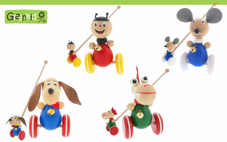 Greenkid push-along toy with motion. Small wooden animals and figures - Ladybird - Mouse - Doggy - Dragon. with a jingle bell on wheels for children from one year of age. Abafactory the Czech manufacturer of quality wooden toys.