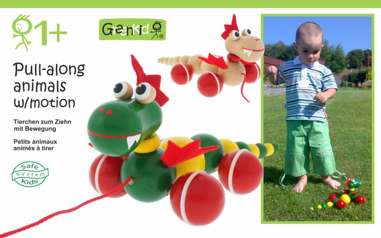 Greenkid quality and safe pull-along toy for children's joy. Wooden pull-along animal - colourful Dragon on wheels. Abafactory the Czech manufacturer of wooden toys.