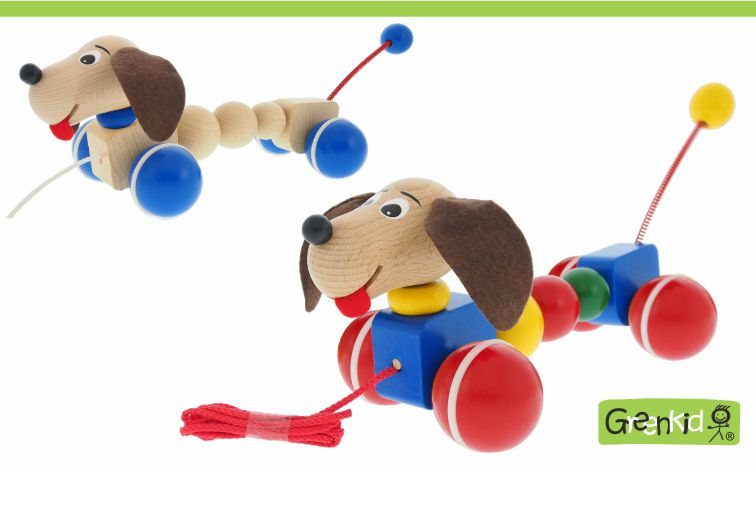 Greenkid quality and safe wooden pull-along toys. Colourful wooden animals on wheels: Doggy for boys and girls by Abafactory the Czech manufactuer.