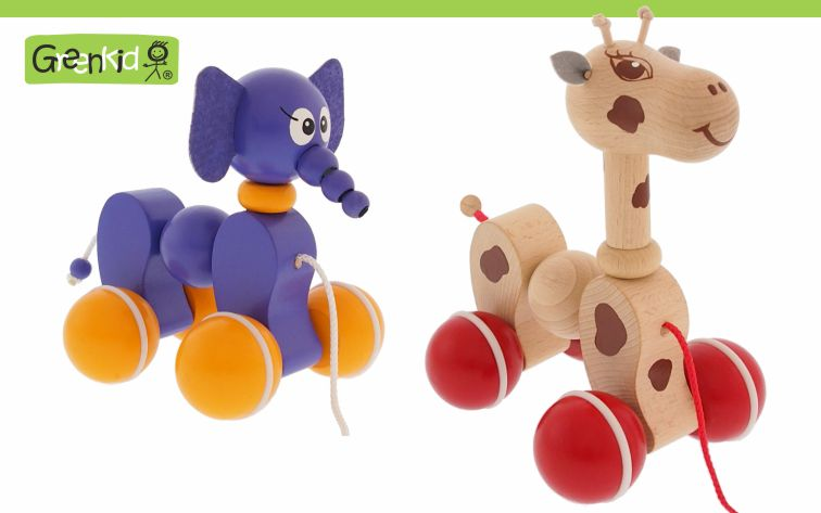 Greenkid quality and safe wooden pull-along toys. Colourful wooden animals on wheels: Giraffe and elephant for boys and girls by Abafactory the Czech manufactuer.