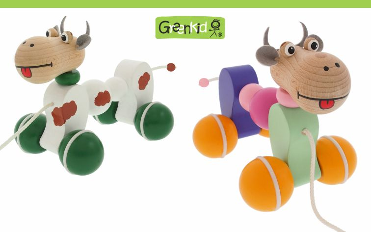 Greenkid quality wooden pull-along toy for boys and girls. Colourful wooden Cow by Abafactory the Czech manufacturer.