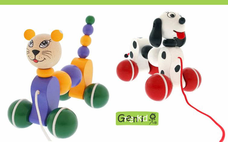 Greenkid quality and safe wooden pull-along toys. Colourful wooden animals on wheels: Doggy - Cat for boys and girls by Abafactory the Czech manufactuer.