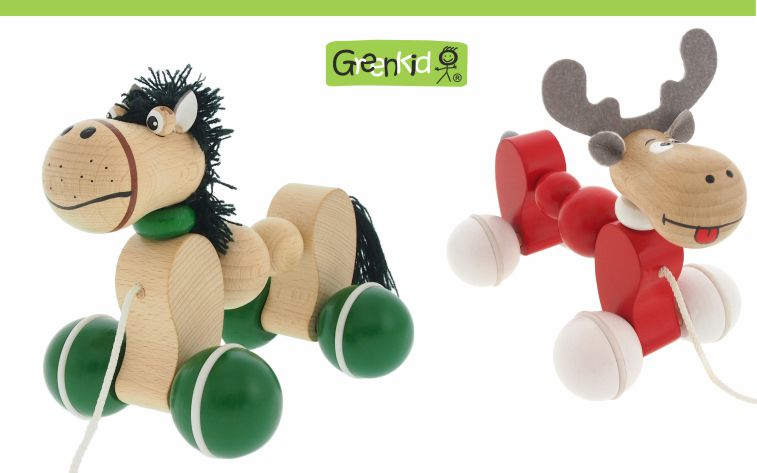 Greenkid wooden pull-along toys. Wooden animals on wheels for children's joy by Abafactory the Czech manufacturer of quality and safe wooden toys. Horse and Reindeer.