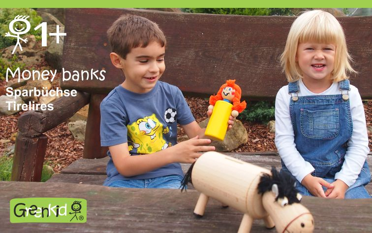 Greenkid wooden toys and decoration for children's rooms. Wooden money bank for boys and girls Pipi and horse. Abafactory the Czech manufacturer of quality toys.