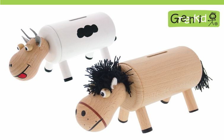 Greenkid wooden money banks for children from one year of age. Original wooden toys and decoration with animals: cow and horse by Abafactory the Czech manufacturer of quality wooden toys.
