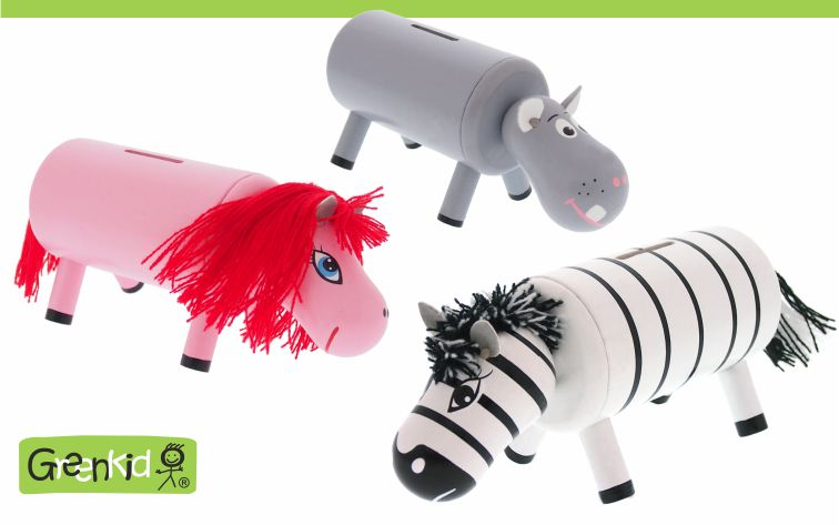 Greenkid wooden toys and decorations for children's rooms. Wooden money bank for boys and girls with animals. Abafactory the Czech manufacturer of quality toys.